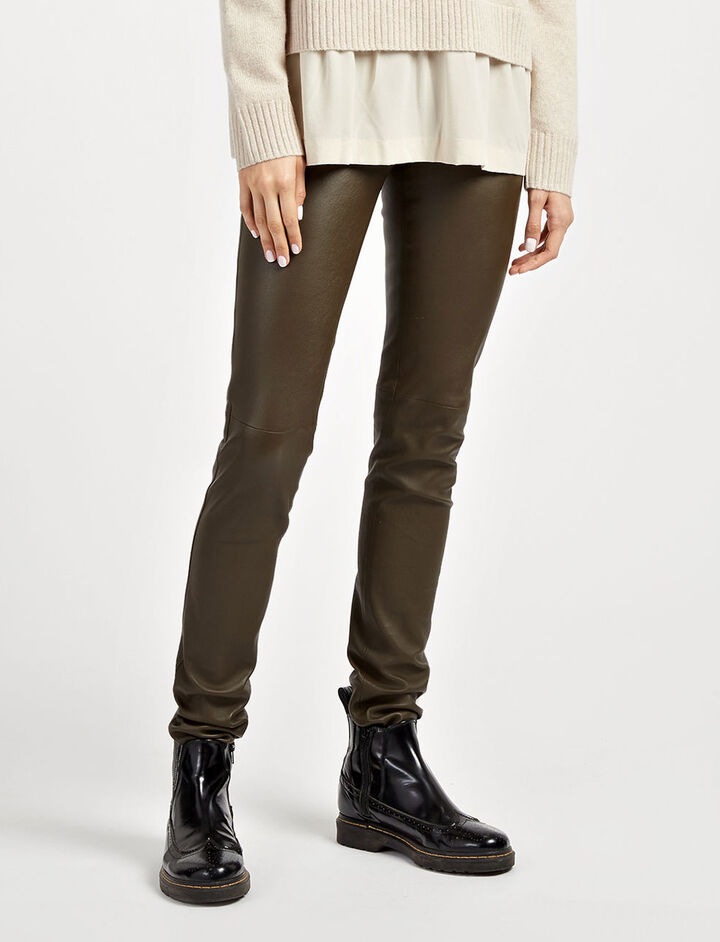 Leather Stretch Leggings, in KHAKI, large | on Joseph