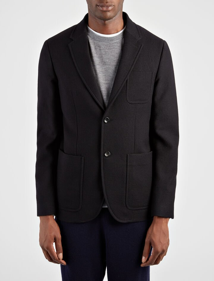Washed Flannel Seaton Jacket, in BLACK, large | on Joseph