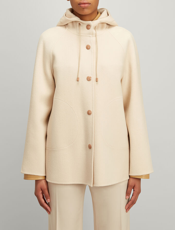 Double Wool Rowen Short Coat, in CAMEL, large | on Joseph