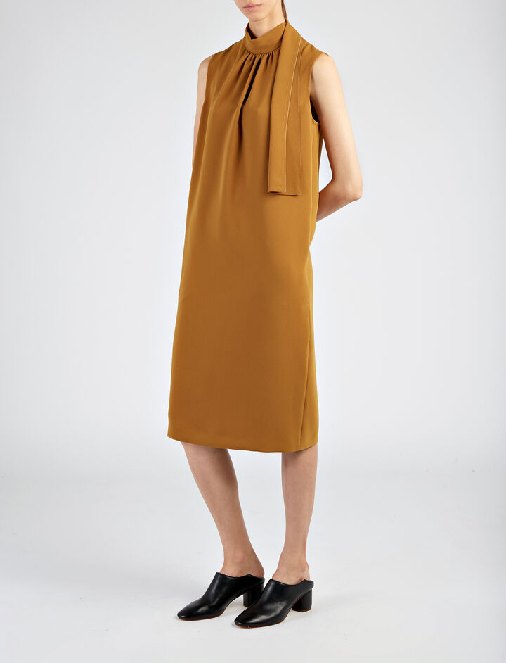 Stretch Flou Bella Dress , in DARK OCHRE, large | on Joseph
