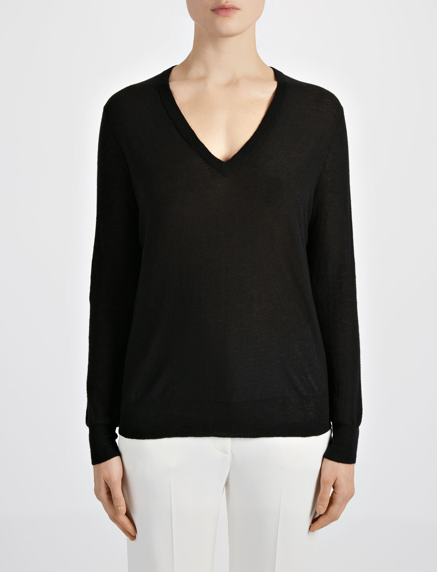 Cashair and Patch V Neck Sweater, in BLACK, large | on Joseph
