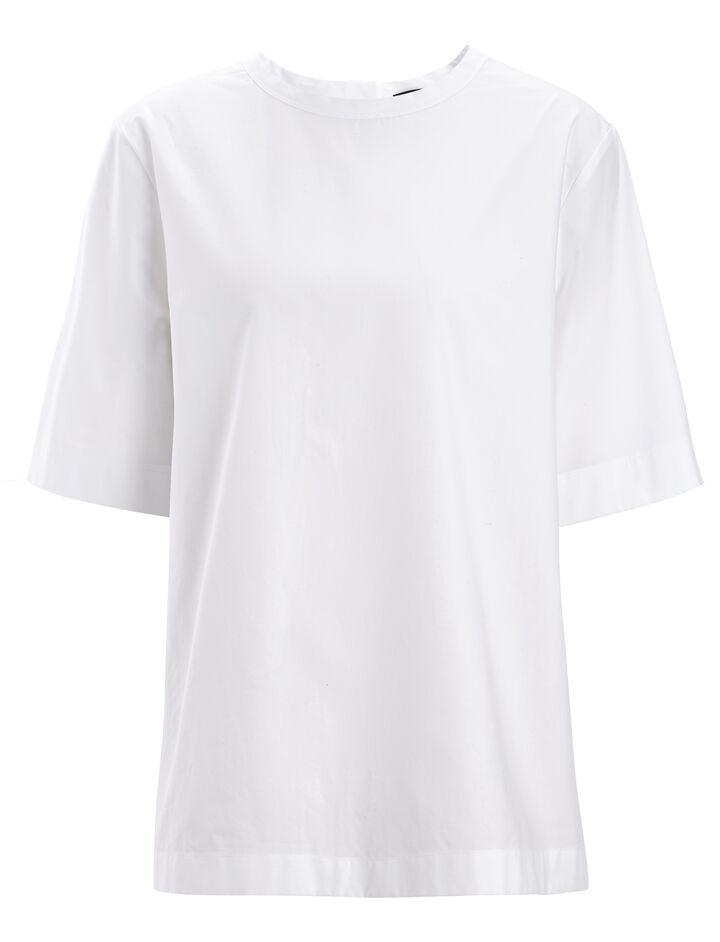 Cotton Poplin Foley Blouse, in WHITE, large | on Joseph