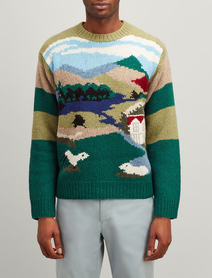 Joseph, Landscape Handknit Sweater, in MULTICOLOUR