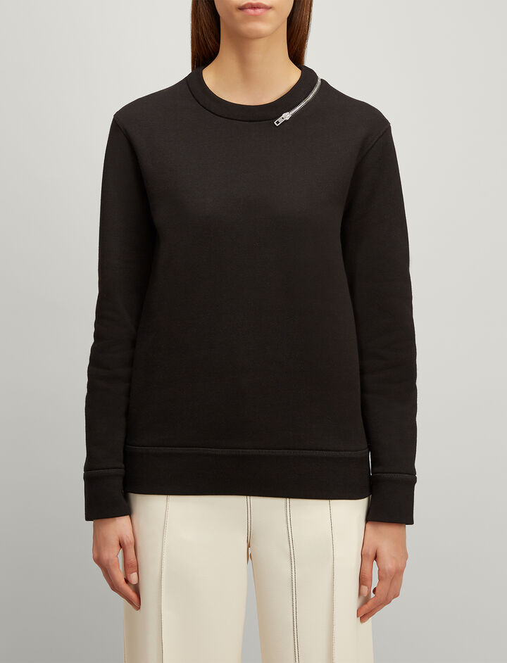 Joseph, Loopback Jersey Sweatshirt, in BLACK
