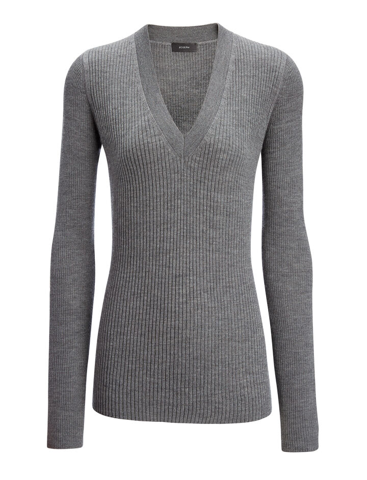 Wool Silk Cashmere Rib V Neck Top, in GRAPHITE, large | on Joseph