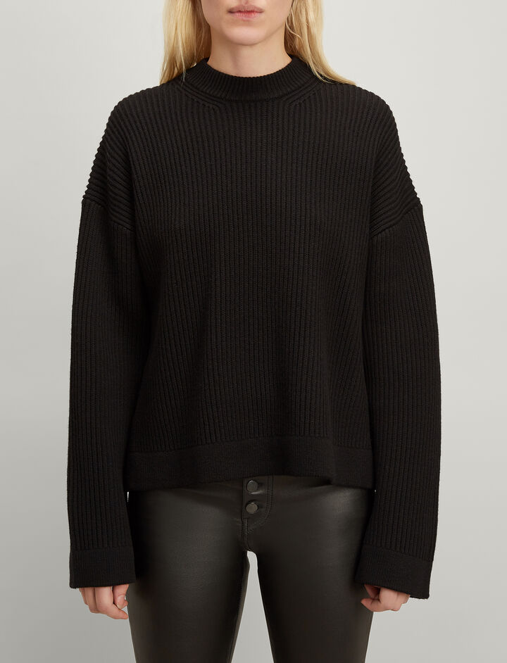 Joseph, Cardigan Stitch Round Neck Sweater, in BLACK