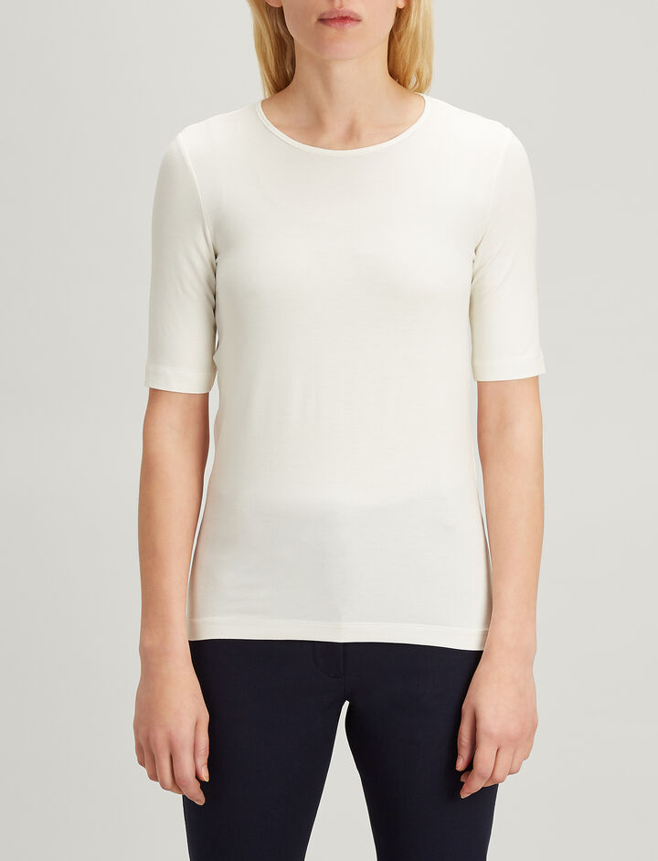 Joseph, Stretch Jersey Round Neck Tee, in ECRU