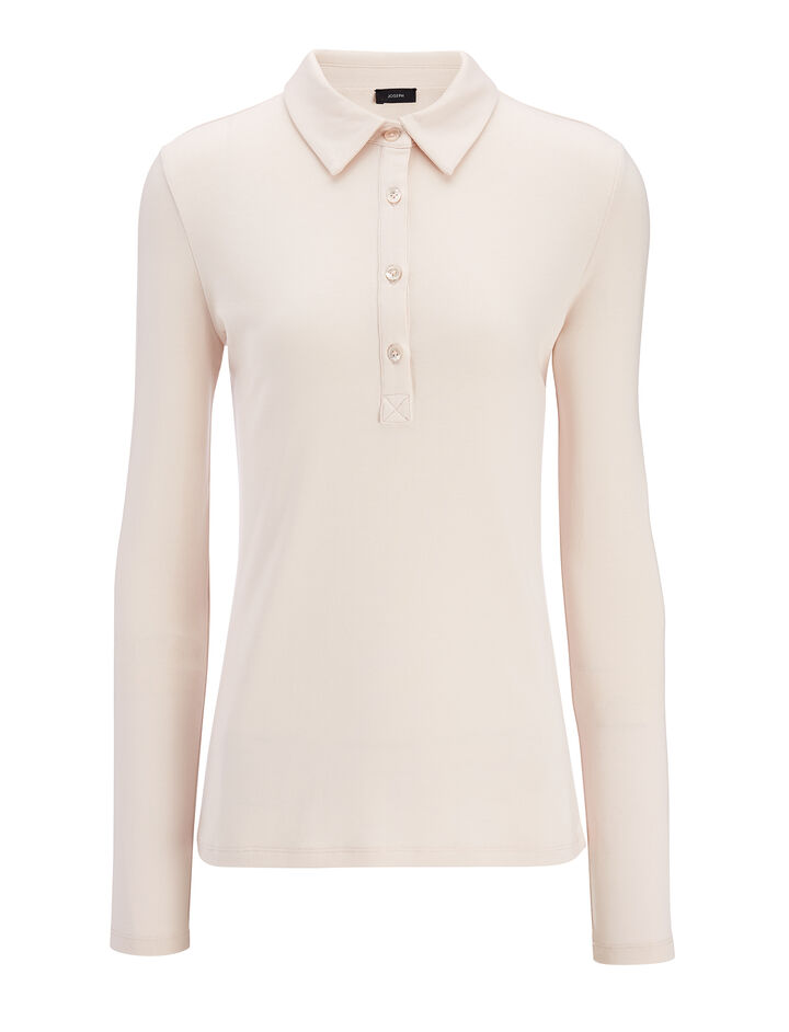 Cotton Lyocell Stretch Polo, in HINT OF PEARL, large | on Joseph