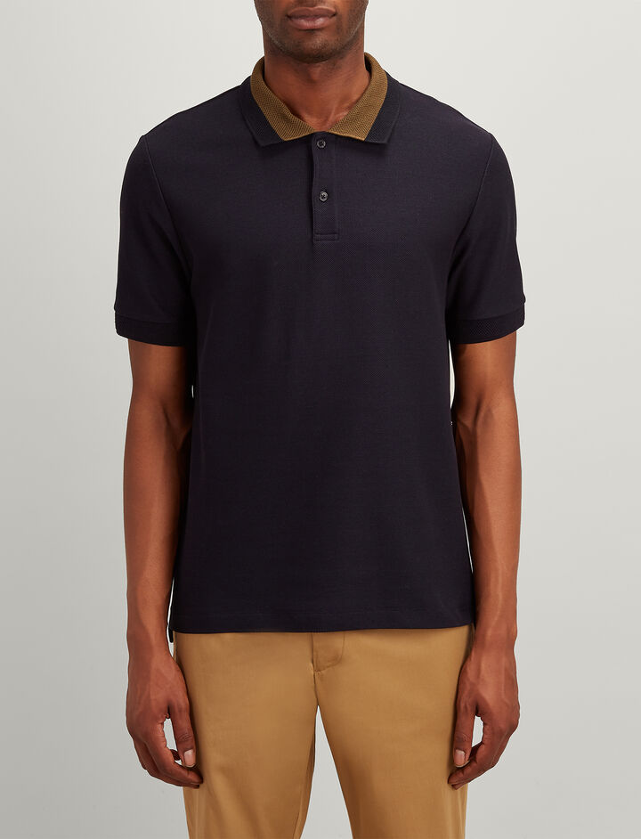 Cotton Pique Polo, in NAVY, large | on Joseph