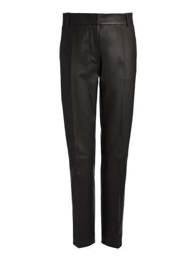 Leather Stretch Zoom Trousers, in BLACK, large | on Joseph