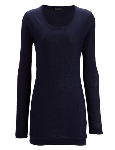 Cotton Rib Open Neck Tee, in MARINE, large | on Joseph