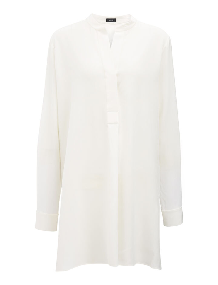 Crepe de Chine Lara Blouse, in CHALK, large | on Joseph