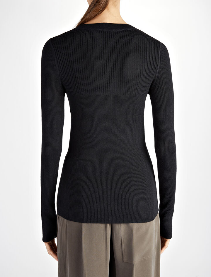 Wool Silk Cashmere Rib Top, in BLACK, large | on Joseph