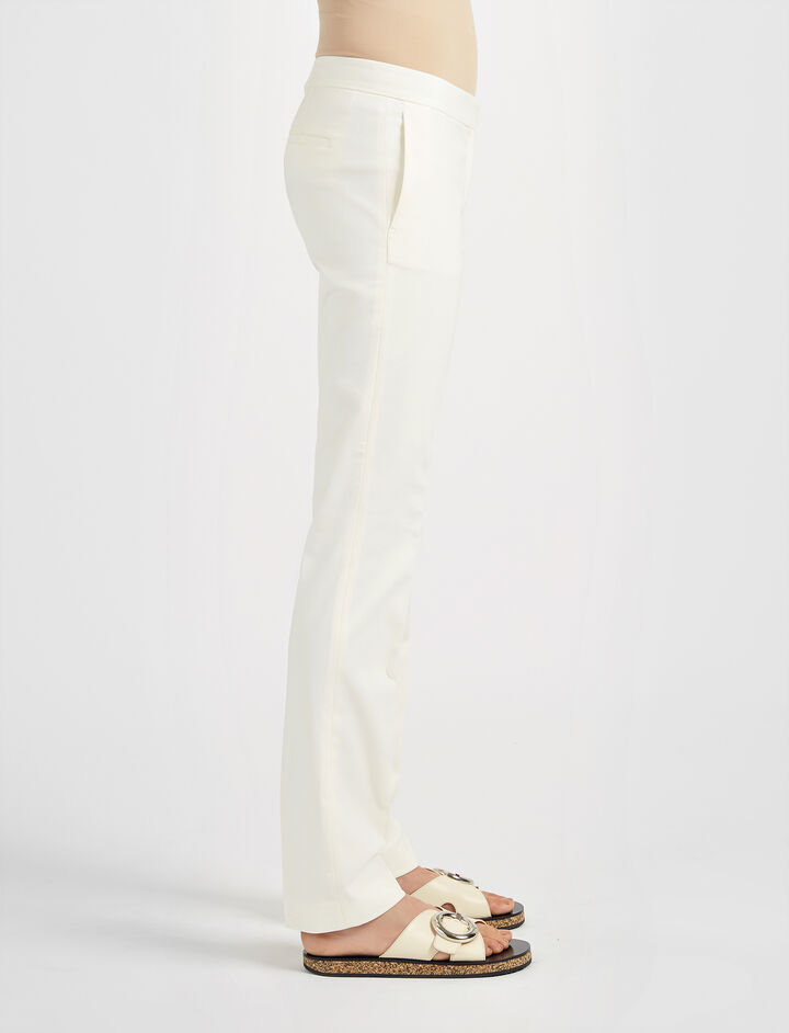 New Cotton Compact Finley Regular Trouser, in OFF WHITE, large | on Joseph