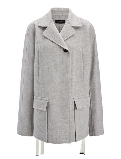 Double Wool Caplan Short Coat, in LIGHT GREY, large | on Joseph