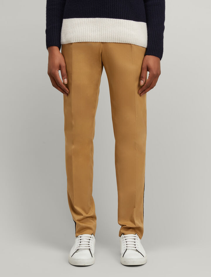 Stripe Twill Anderson Chino Trousers, in CAMEL, large | on Joseph