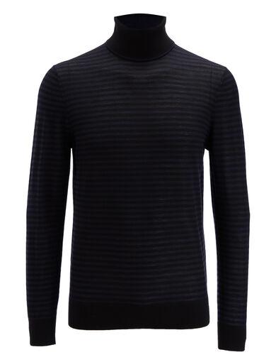 Light Stripe Roll Neck Sweater, in BLACK/Navy, large | on Joseph