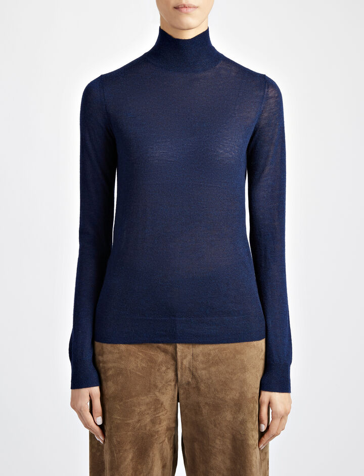 Cashair High Neck Sweater, in NAVY, large | on Joseph
