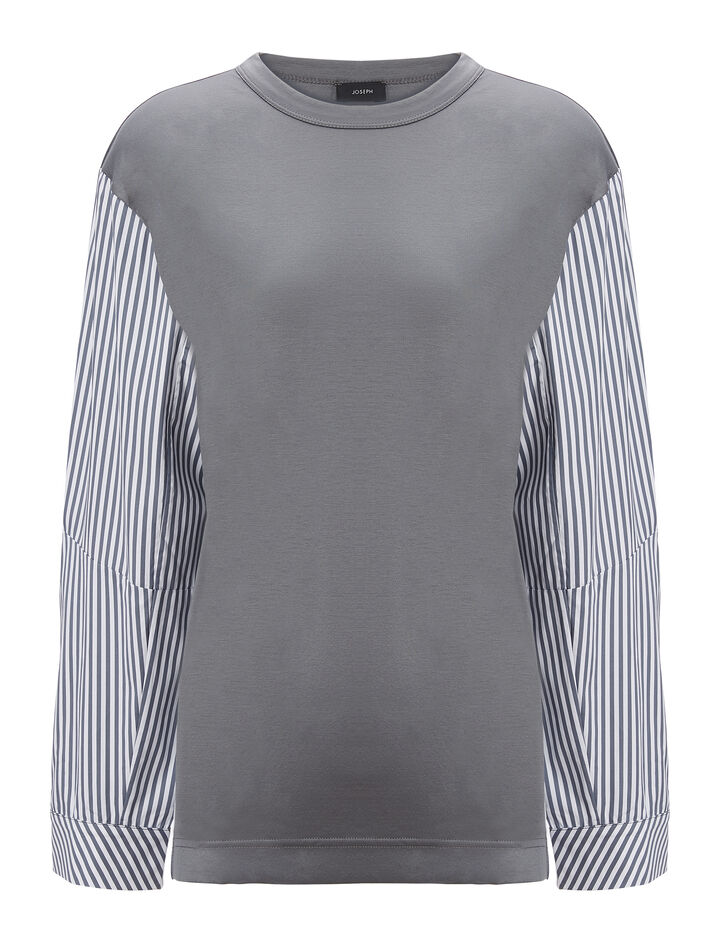 Joseph, Jersey and Candy Stripe Long Sleeve Tee, in GREY
