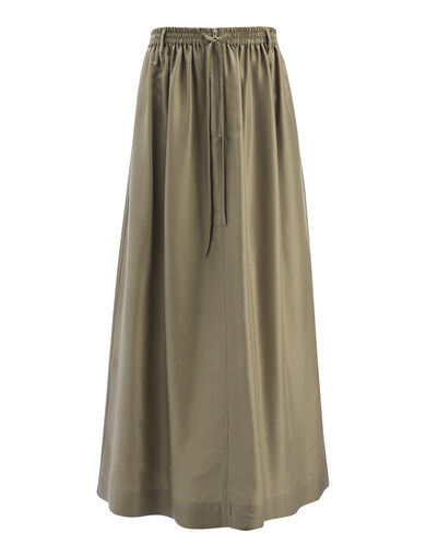 Habotai Flint Skirt, in FATIGUE, large | on Joseph