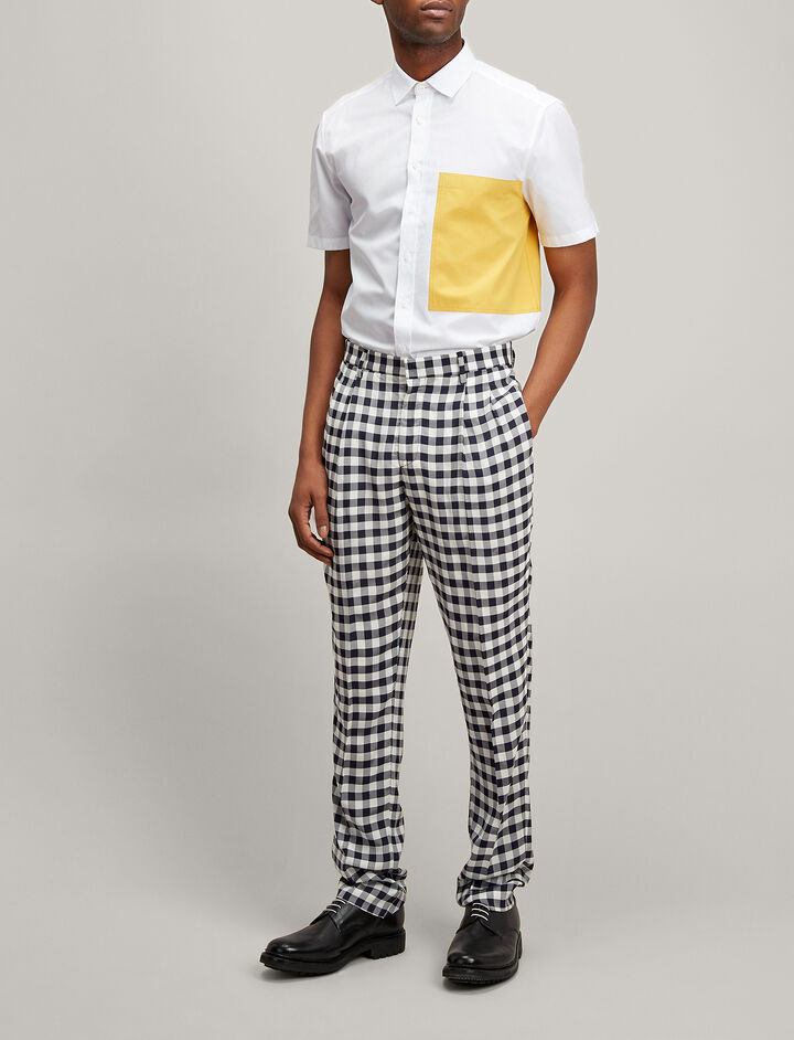 Gingham Jacquard Clive Trousers, in NAVY, large | on Joseph