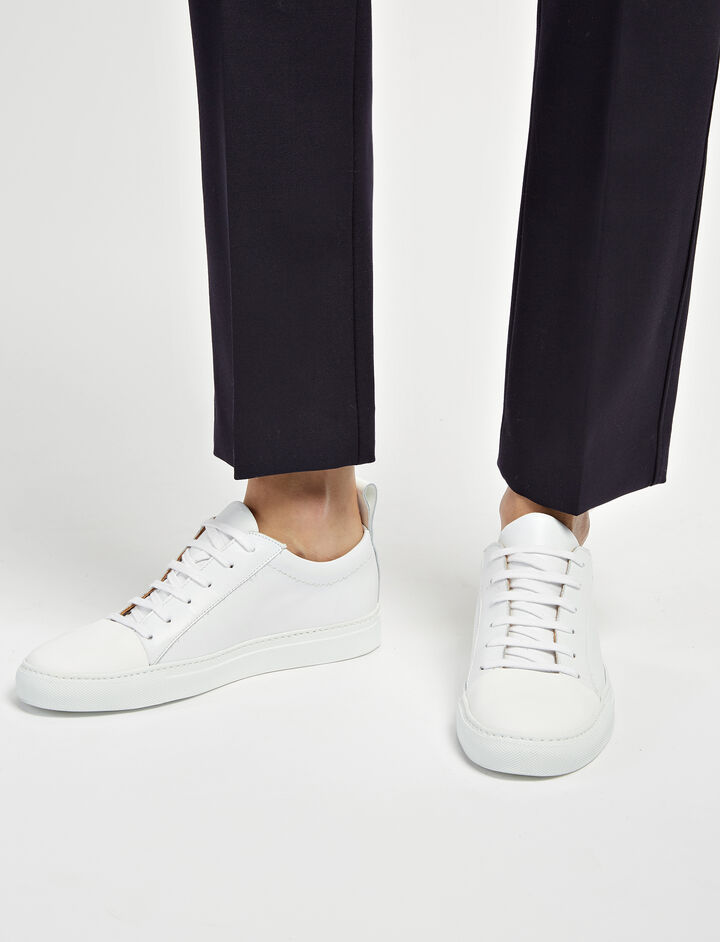 Calf Leather Sahara Murray Trainers, in WHITE, large | on Joseph
