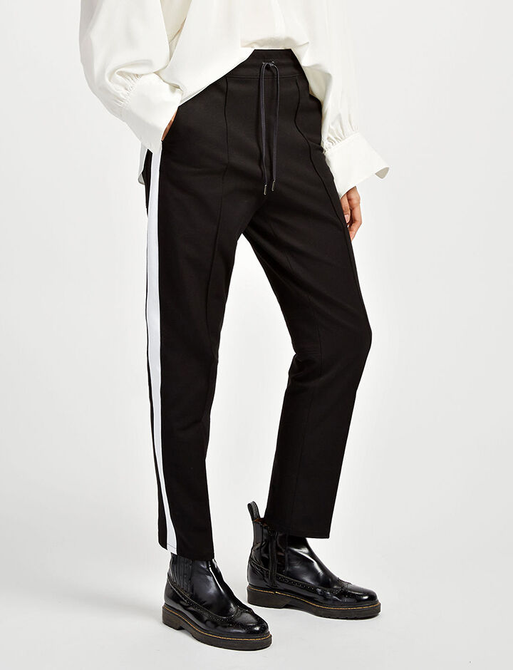 Gabardine Stretch Base Tuxedo Trousers, in BLACK/WHITE, large | on Joseph
