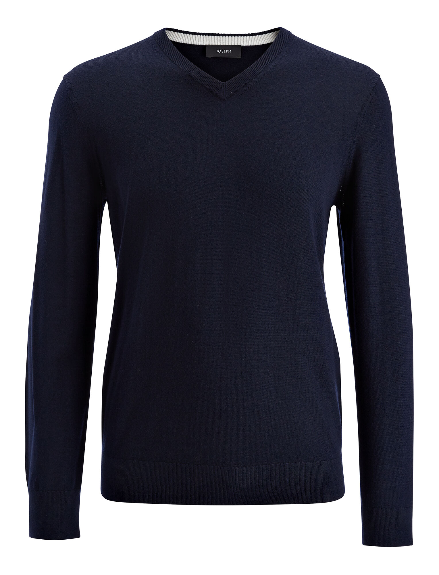 Merinos and Suede Patch V Neck Sweater, in NAVY, large | on Joseph