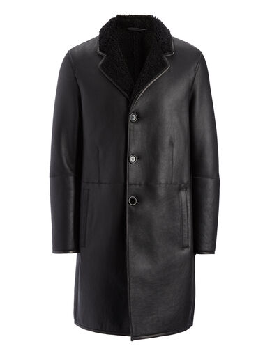 Sheepskin Aston Coat, in BLACK, large | on Joseph