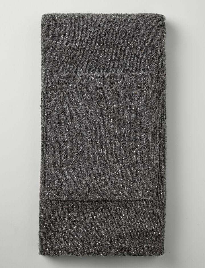 Shetland Knit Pocket Scarf, in CHARCOAL, large | on Joseph