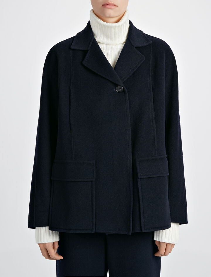 Double Wool Caplan Short Coat, in INK, large | on Joseph