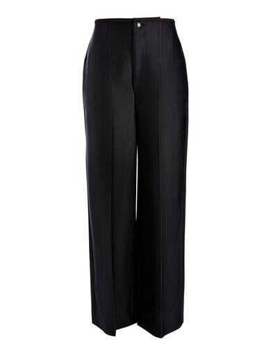 Double Satin Brodie Trouser, in BLACK, large | on Joseph