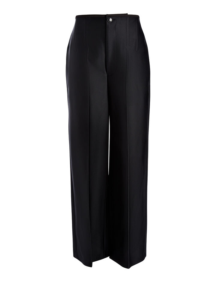 Pantalon Brodie en double satin, in BLACK, large | on Joseph