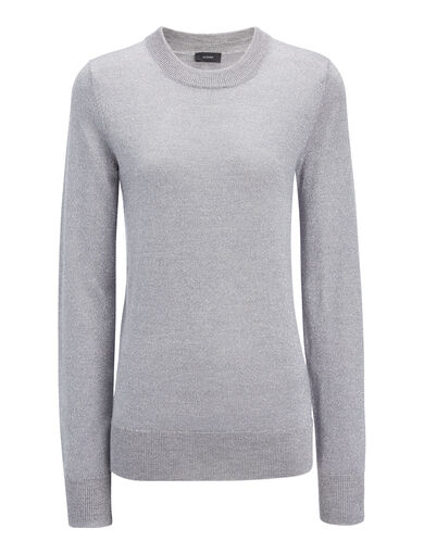 Lurex Knit Sweater, in CONCRETE, large | on Joseph