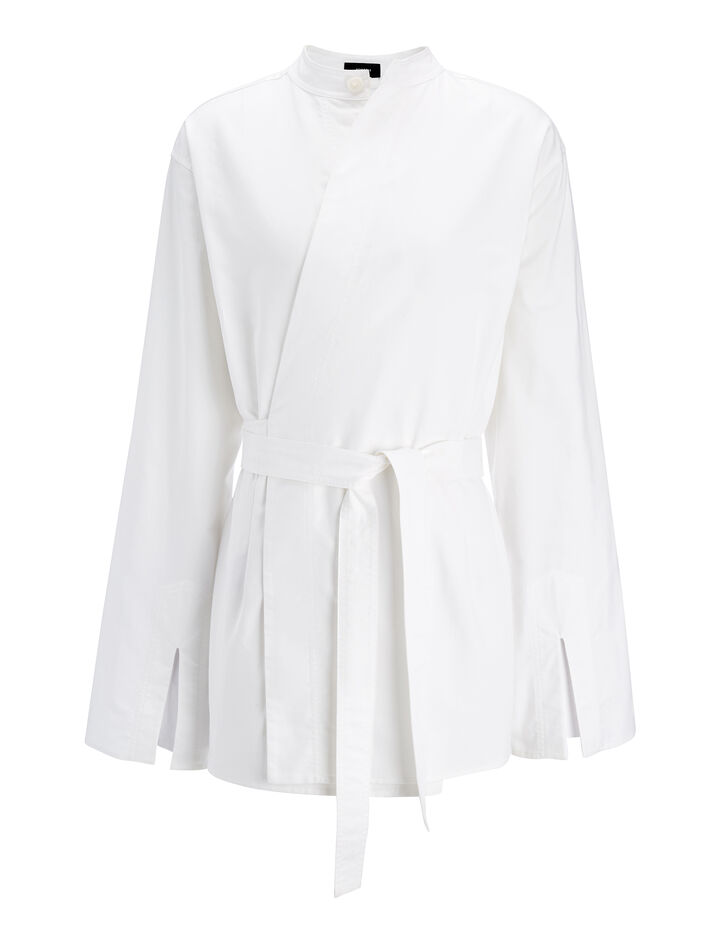 Chintz Poplin Andy Blouse, in WHITE, large | on Joseph