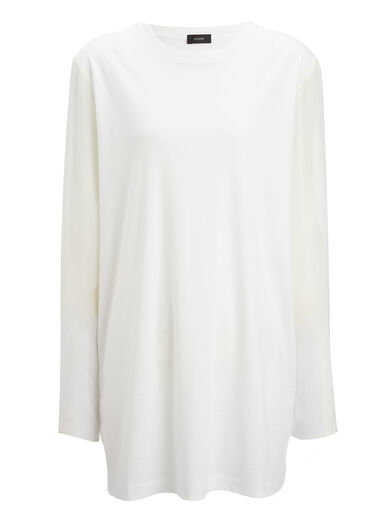 Jersey + Silk Georgette Top, in CHALK, large | on Joseph