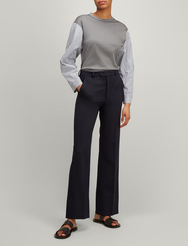 Wool Stretch Tropez Trousers, in NAVY, large | on Joseph
