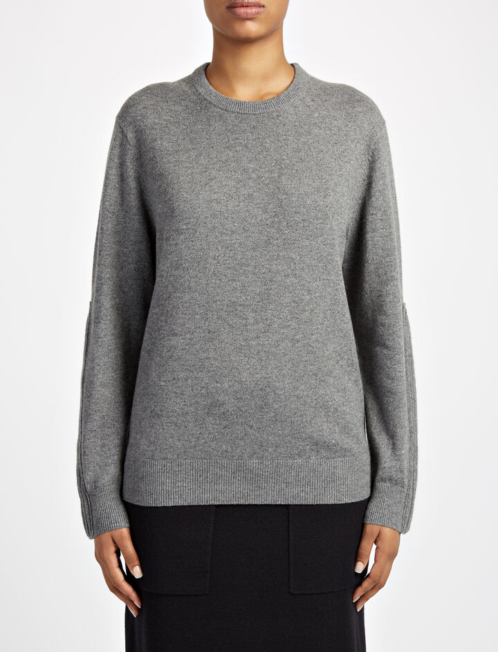Mongolian Cashmere Sweater, in GRAPHITE, large | on Joseph