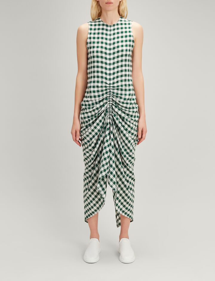 Gingham Jacquard Zadie Dress, in EMERALD, large | on Joseph