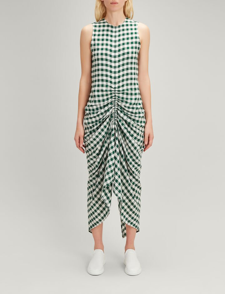 Joseph, Gingham Jacquard Zadie Dress, in EMERALD