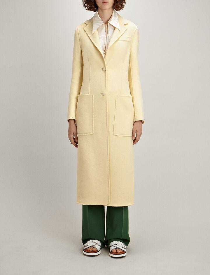 Double Wool-Silk Marvil Coat, in CUSTARD, large | on Joseph