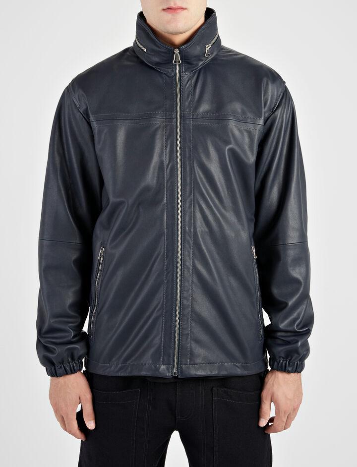 Matt Nappa Beck Leather Jacket, in NAVY, large | on Joseph