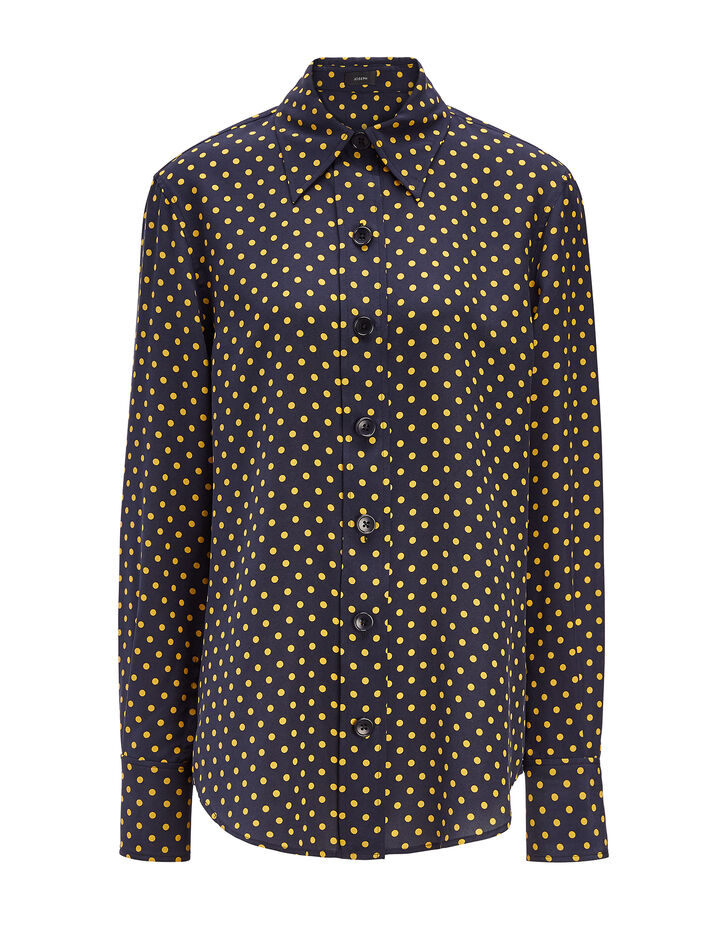 Joseph, Spot Silk Toile New Garcon Shirt, in NAVY