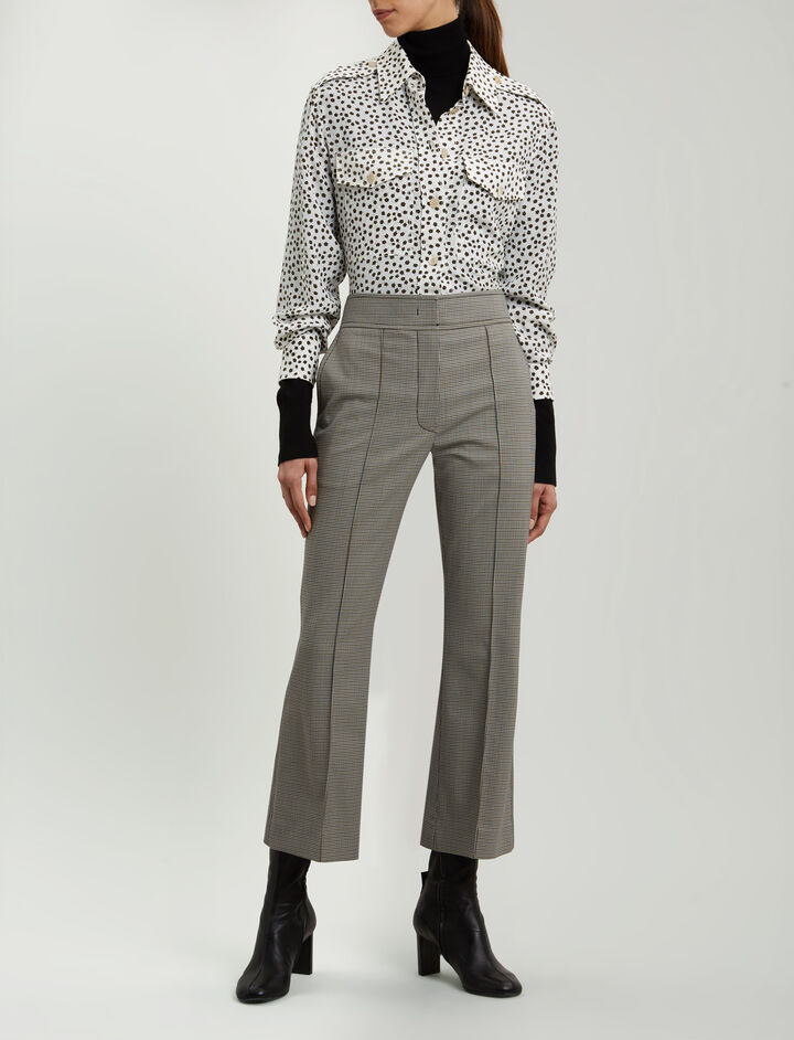 Joseph, Ridge Mini Dogtooth Suiting Trousers, in BEIGE