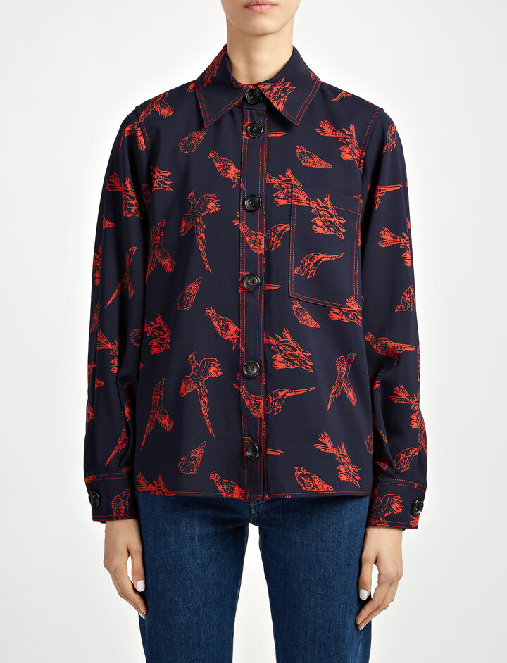 Washed Printed Viscose Blaise Jacket, in NAVY/RED, large | on Joseph