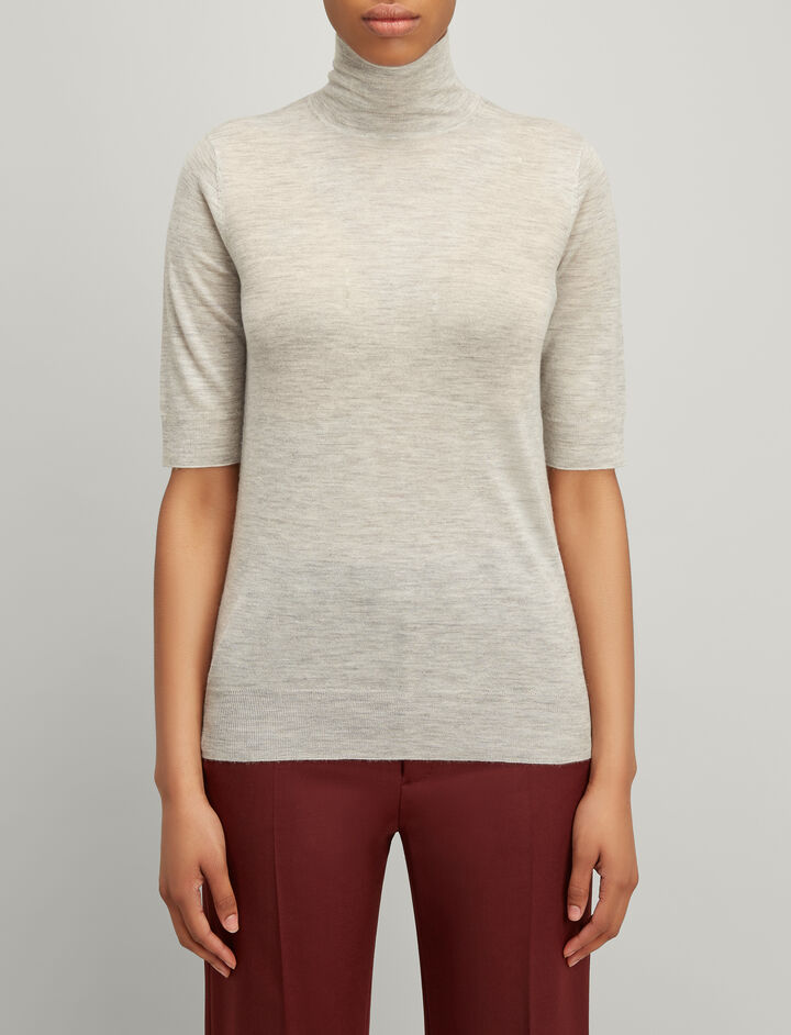 Joseph, Cashair Short Sleeve Sweater, in GREY CHINE