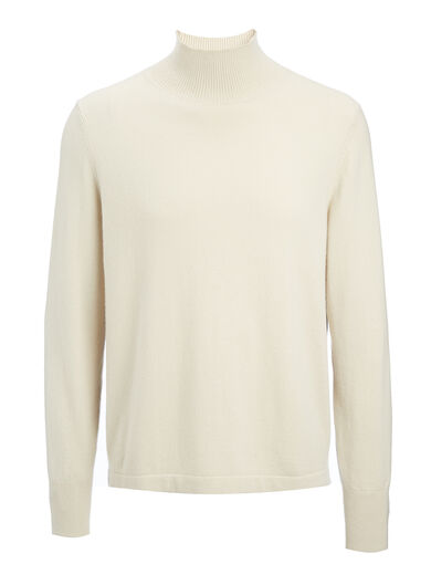 Mongolian Cashmere Roll Neck Sweater, in ECRU, large | on Joseph