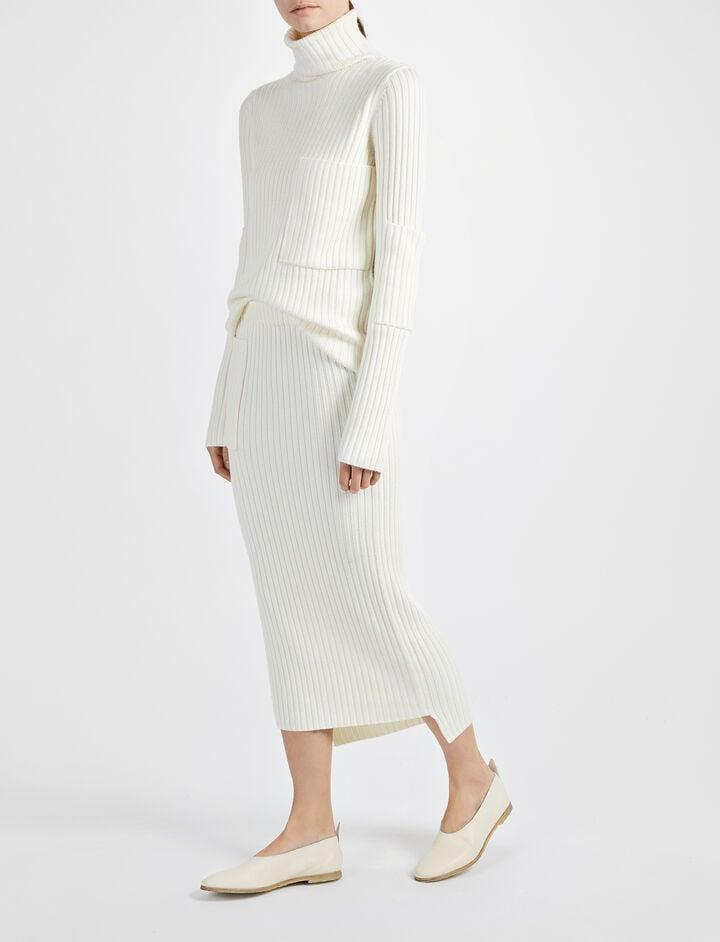 Wool Viscose Rib High Neck Sweater, in BONE, large | on Joseph