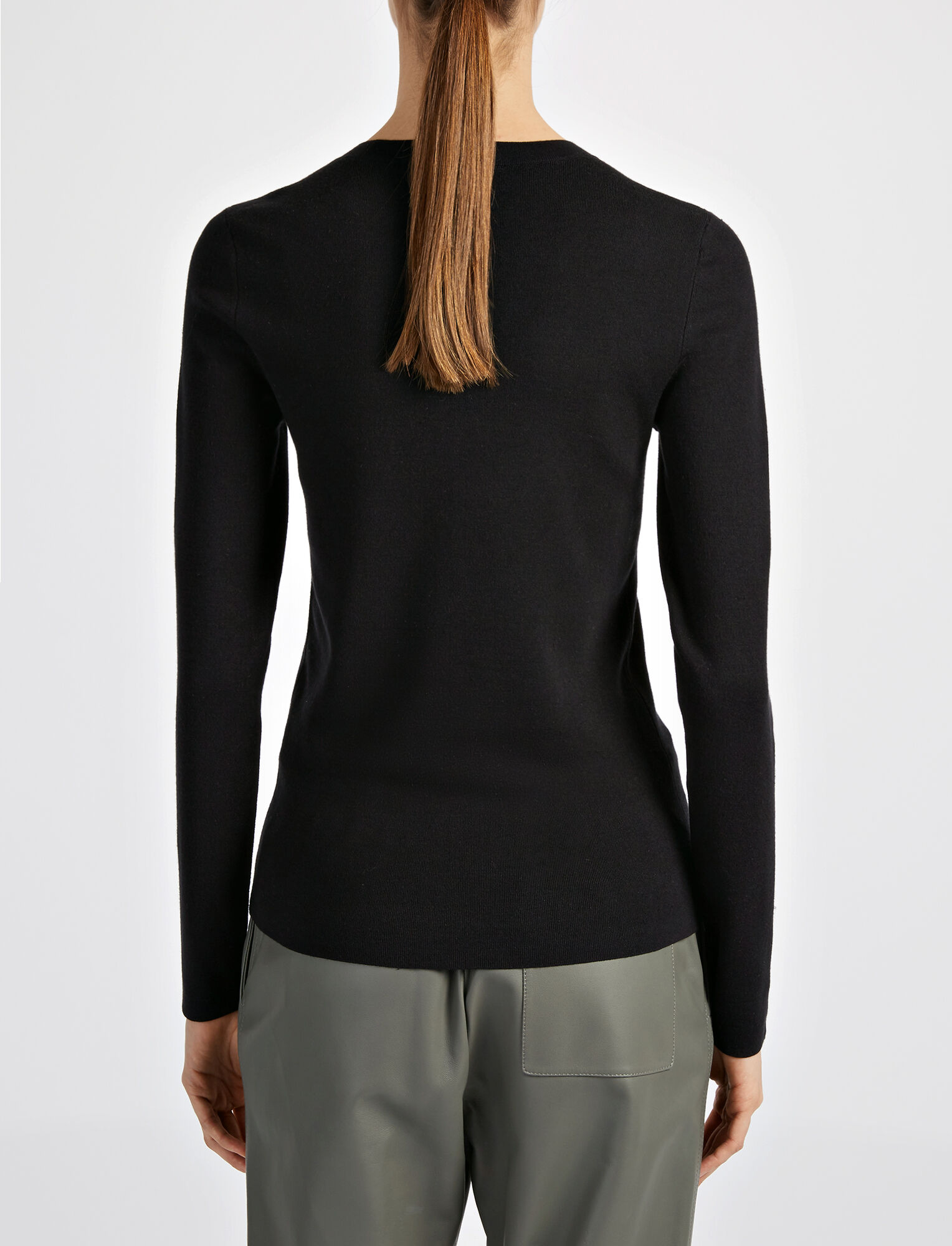 Silk Stretch Top, in BLACK, large | on Joseph