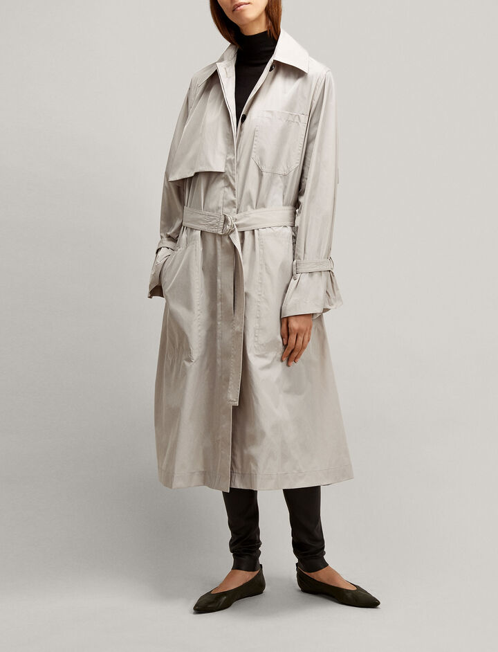 Joseph, Dublin Tafetta Nylon Coat, in STONE